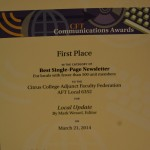 Best Single Page Newsletter 2014
